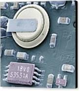 Circuit Board Battery, Sem Canvas Print by Steve Gschmeissner