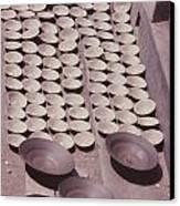 Clay Yogurt Cups Drying In The Sun Canvas Print by David Sherman