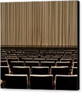 Closed Curtain In An Empty Theater Canvas Print by Adam Burn