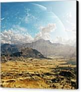 Clouds Break Over A Desert On Matsya Canvas Print by Brian Christensen