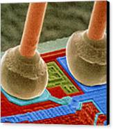 Coloured Sem Of Integrated Circuit Micro-wires. Canvas Print by Power And Syred