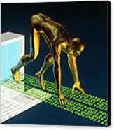 Computer Artwork Of The Internet As A Sprinter Canvas Print by Laguna Design