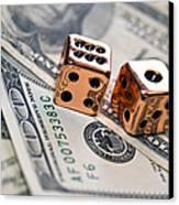Copper Dice And Money Canvas Print by Susan Leggett