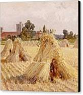 Corn Stooks By Bray Church Canvas Print by Heywood Hardy