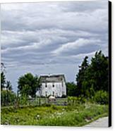 Corn Storm Clouds Horse Dirt Road Old House Canvas Print by Wilma  Birdwell
