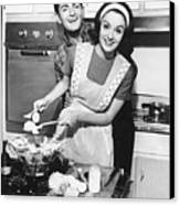 Couple Standing In Kitchen, Smiling, (b&w) Canvas Print by George Marks