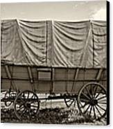 Covered Wagon Sepia Canvas Print by Steve Harrington