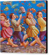 Crossing The Red Sea Canvas Print by Rosemarie Adcock