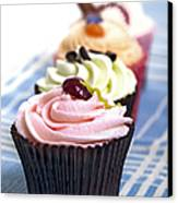 Cupcakes On Tablecloth Canvas Print by Jane Rix