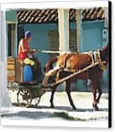 daily chores small town rural Cuba Canvas Print by Bob Salo