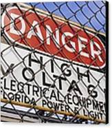 Danger High Voltage Sign In Cocoa Florida Canvas Print by Mark Williamson