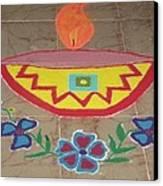 Decorative Earthen Diya Rangoli Canvas Print by Sonali Gangane