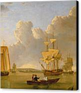 Deptford On Thames With A Distant View Of Greenwich Canvas Print by John of Hull Ward
