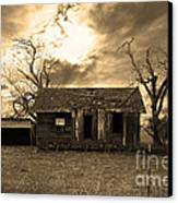 Dilapidated Old Farm House . 7d10341 . Sepia Canvas Print by Wingsdomain Art and Photography