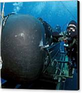 Divers Prepare To Launch A Seal Canvas Print by Stocktrek Images