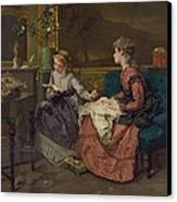 Domestic Scene With Two Girls, One Canvas Print by Everett