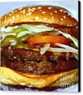 Double Whopper With Cheese And The Works - V2 - Painterly Canvas Print by Wingsdomain Art and Photography