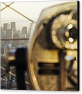 Downtown Manhattan Behind Coin Operated Binoculars Canvas Print by Jeremy Woodhouse