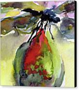 Dragonfly On Flower Bud Watercolor Canvas Print by Ginette Callaway
