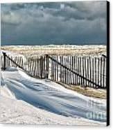 Drifting Snow Along The Beach Fences At Nauset Beach In Orleans  Canvas Print by Matt Suess