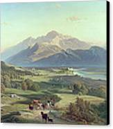Drover On Horseback With His Cattle In A Mountainous Landscape With Schloss Anif Salzburg And Beyond Canvas Print by Josef Mayburger