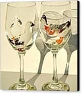 Ducks On Wineglasses Canvas Print by Pauline Ross