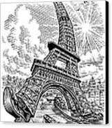 Eiffel Tower, Conceptual Artwork Canvas Print by Bill Sanderson