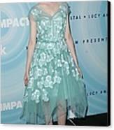 Elle Fanning Wearing A Dress By Marc Canvas Print by Everett