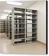 Empty Metal Shelves Canvas Print by Jetta Productions, Inc