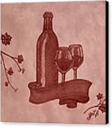 Enjoying Red Wine  Painting With Red Wine Canvas Print by Georgeta  Blanaru