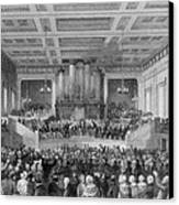 Exeter Hall Filled With A Large Crowd Canvas Print by Everett