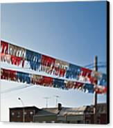 Exterior Red White And Blue Decorations Canvas Print by Eddy Joaquim