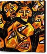 Faces Yellow Canvas Print by Karen Elzinga