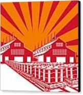 Factory Building Oil Drum Barrel Retro Canvas Print by Aloysius Patrimonio