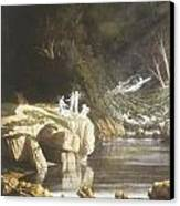 Fairies By A Rocky Stream Canvas Print by Francis Danby