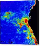 Fal-col Satellite Image Of Coastal Canvas Print by Dr. Gene Feldman, NASA Goddard Space Flight Center