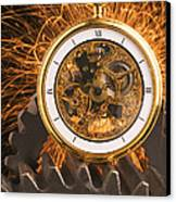 Fancy Pocketwatch On Gears Canvas Print by Garry Gay