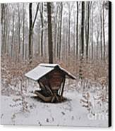 Feed Box In Winterly Forest Canvas Print by Matthias Hauser
