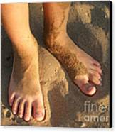 Feet Of A Child In The Sand Canvas Print by Matthias Hauser