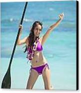 Female Stand Up Paddler Canvas Print by Tomas del Amo