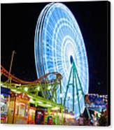 Ferris Wheel At Night Canvas Print by Stelios Kleanthous