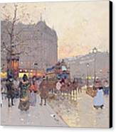Figures In The Place De La Bastille Canvas Print by Eugene Galien-Laloue