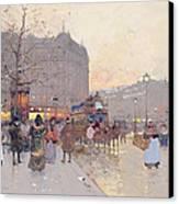 Figures In The Place De La Bastille Canvas Print by Eugene Galien-Laloue