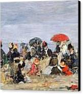 Figures On A Beach Canvas Print by Eugene Louis Boudin