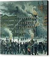 Fire In The New York World Building Canvas Print by American School