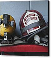 Fireman Helmets And Gear Canvas Print by Skip Nall