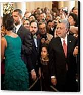 First Lady Michelle Obama Greets Guests Canvas Print by Everett