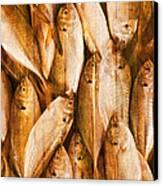 Fish Pattern On Wood Canvas Print by Setsiri Silapasuwanchai