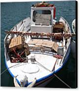 Fishing Boat With Octopus Drying Canvas Print by Jane Rix