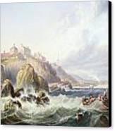 Fishing Boats Off Scotland Canvas Print by John Wilson Carmichael